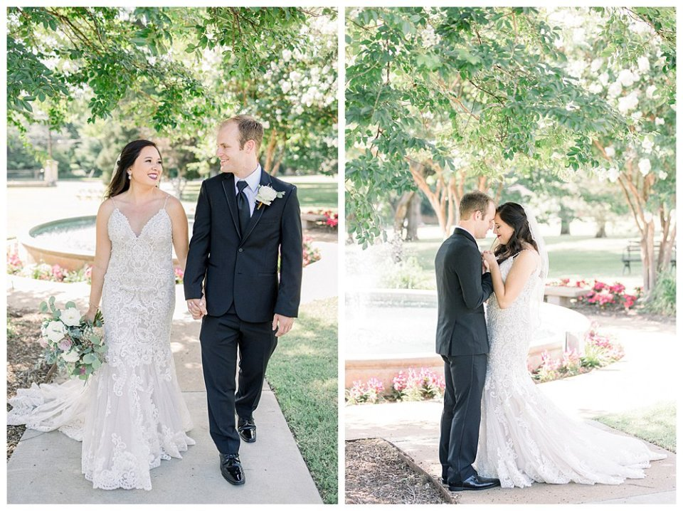 Bride walking with groom at Mansion at Woodward Park wedding