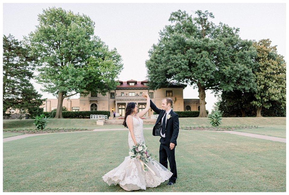 Bride and groom dancing at The Mansion at Woodward Park Tulsa Wedding