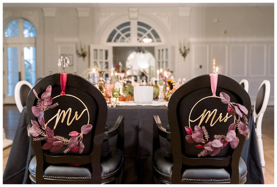 Black and mauve Mr & Mrs. wedding chairs Mansion at Woodward Park elopement Stunning  Timeless Tulsa Photographer
