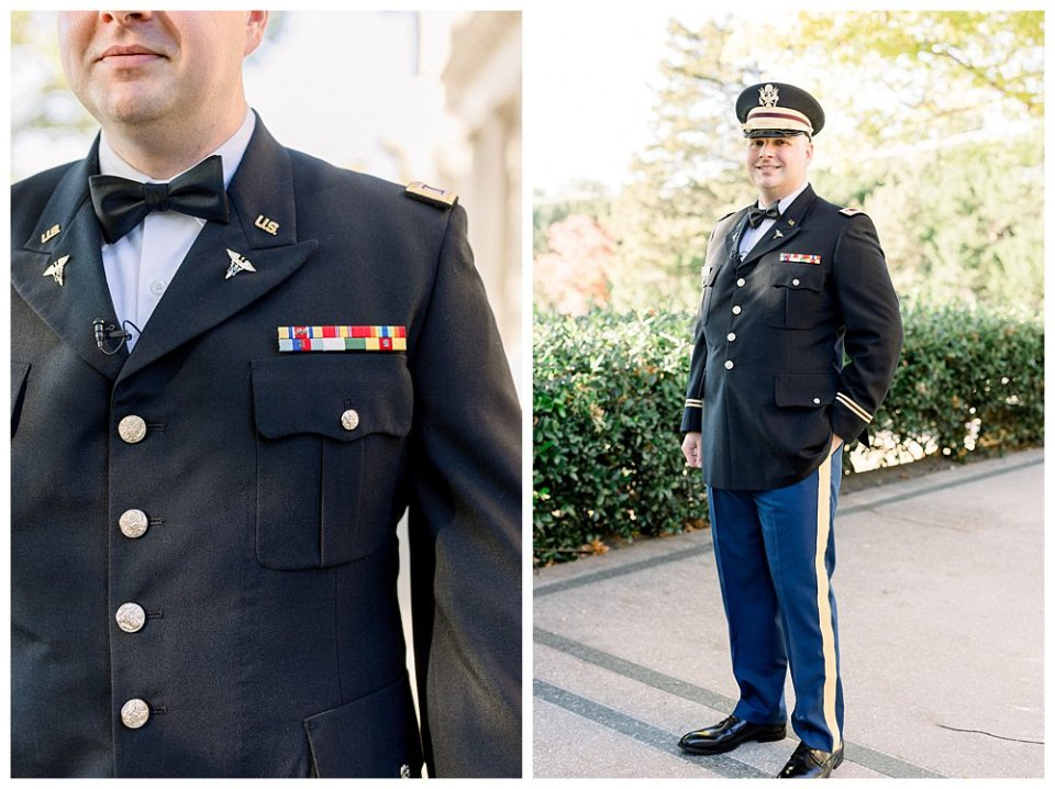 Military groom waiting to see bride at first look