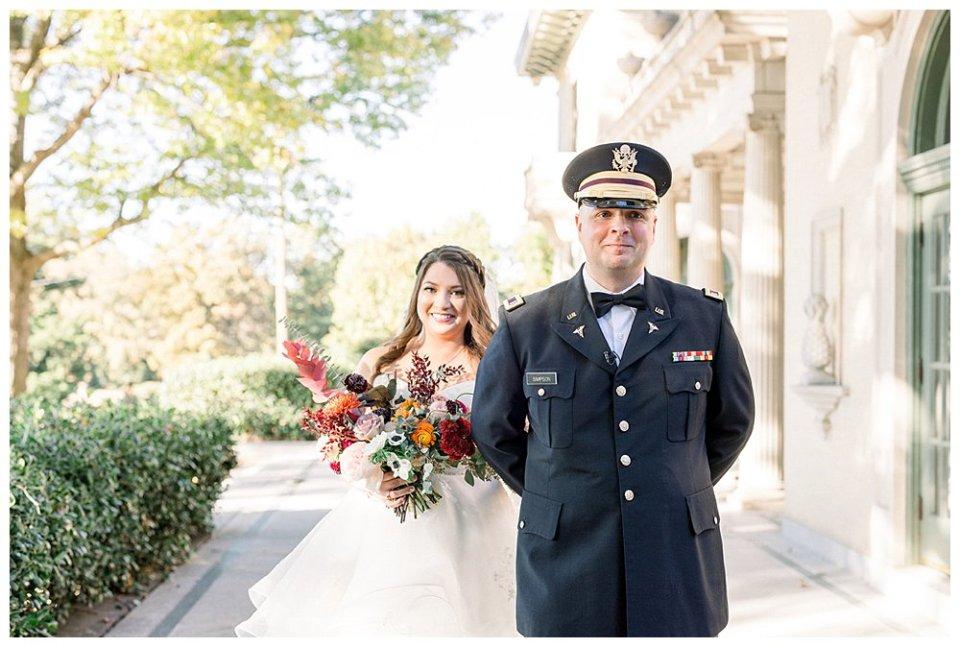 Bride and groom first look at Tulsa Garden Center wedding- Mansion at Woodward Park