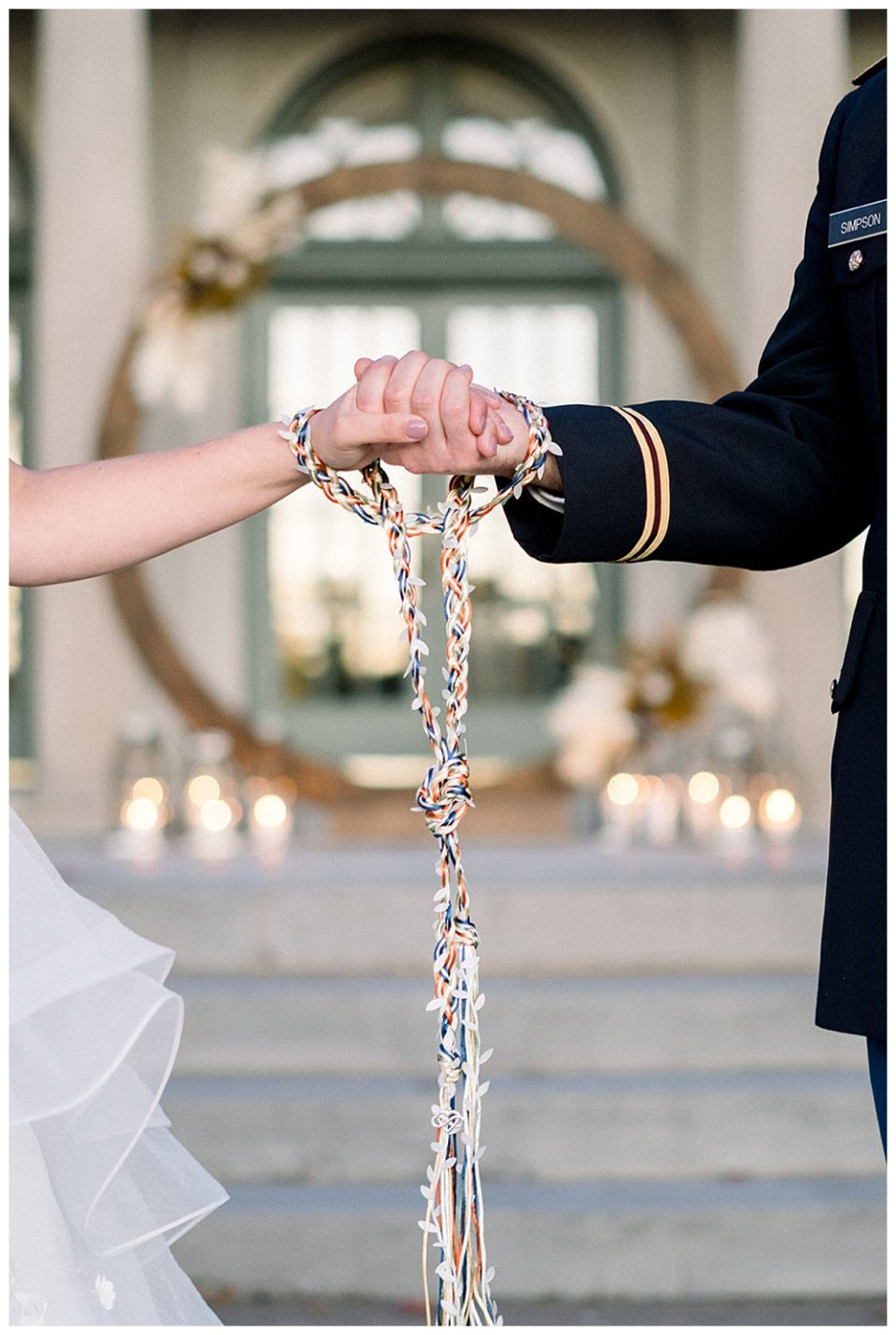 Bride and groom hands in hand fasting ceremony Mansion at Woodward Park elopement Stunning  Timeless Tulsa Photographer