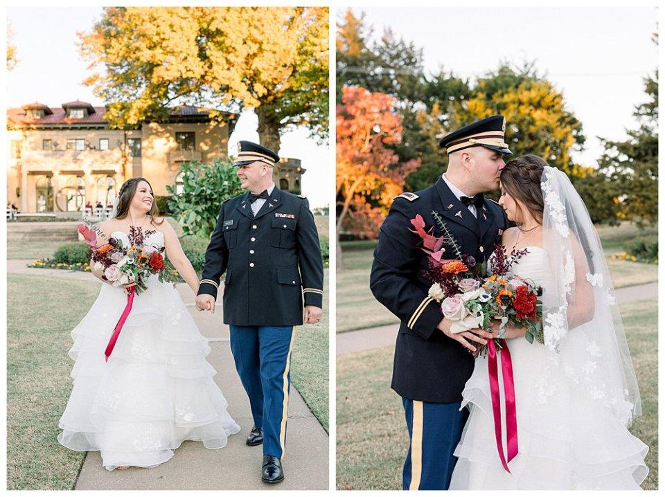 Military groom and bride walking at Mansion at Woodward Park- Tulsa Garden Center wedding