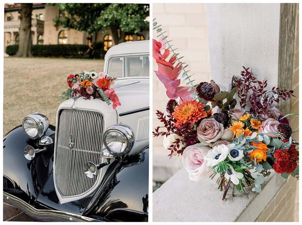 Vintage car with fall wild flower bridal bouquet Mansion at Woodward Park elopement Stunning  Timeless Tulsa Photographer