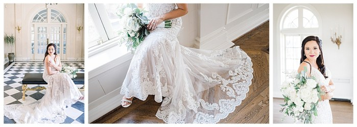 Series of bridal session photos, capturing details and stunning portraits.