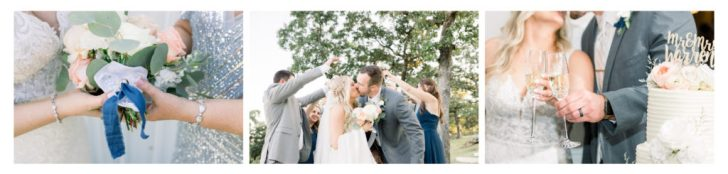 Bride and groom kissing, surrounded by bridal party