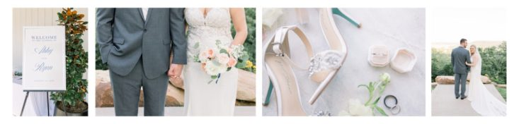 Floral arrangements for ceremony, details of brides ring and shoes, and wedding portraits of couple.