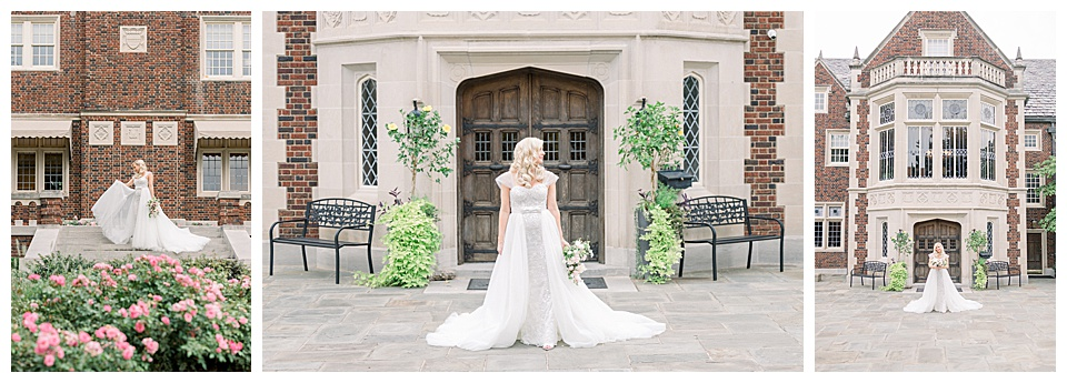 Exterior of the Hardwelden, with gorgeous bride posed out front.