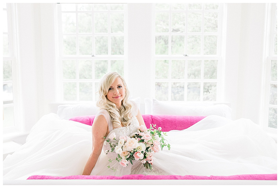 Bride, eloquently posed, in bridal suite, for timeless portraits. Harwelden Mansion is a great spot in Tulsa, to capture effortlessly gorgeous for any wedding.