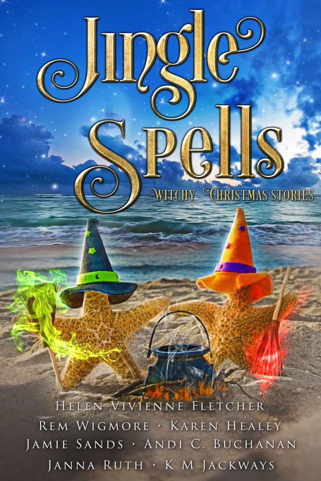 Jingle Spells cover with two starfish dressed as witches on the beach