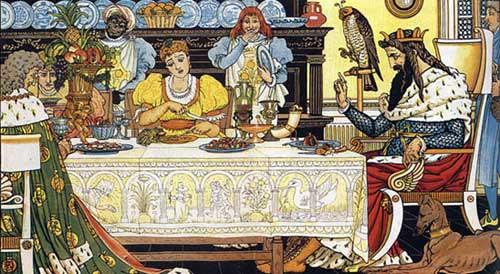 Ilustraţie cu familia prinţesei la masă