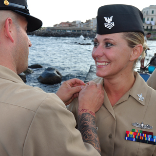 Ericka Mckim advancing to First Class Petty Officer at Aci Trezza Port, when stationed with NAS Sigonella Sicily
