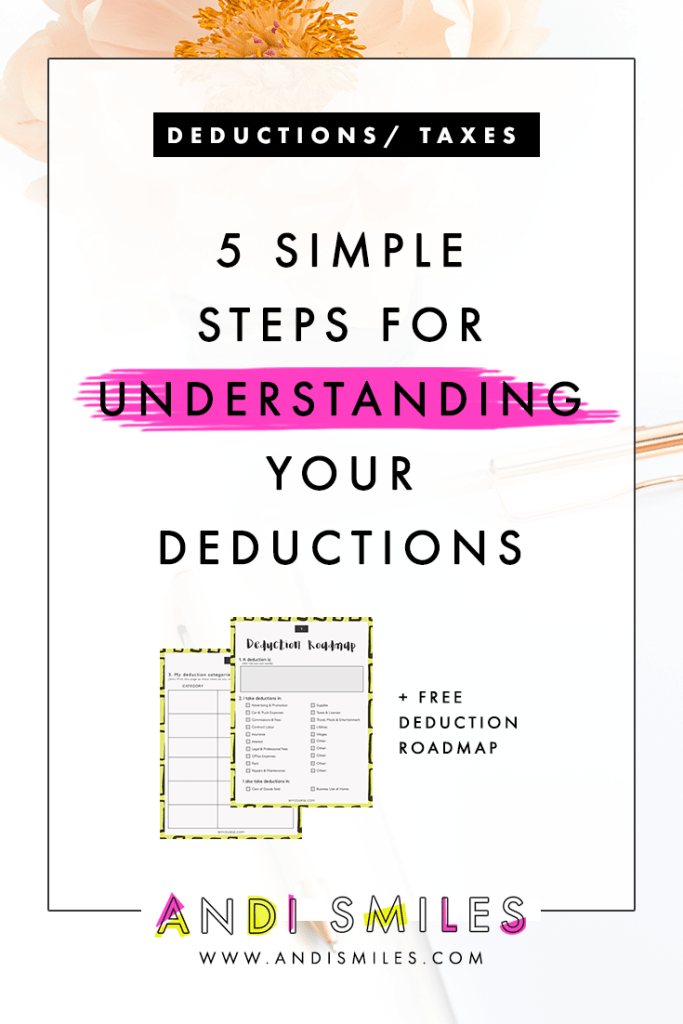 Having self-employment deduction overload? Learn 5 easy steps to understanding your tax write offs. Plus you get a 4-page worksheet!  #businesstips #taxtips