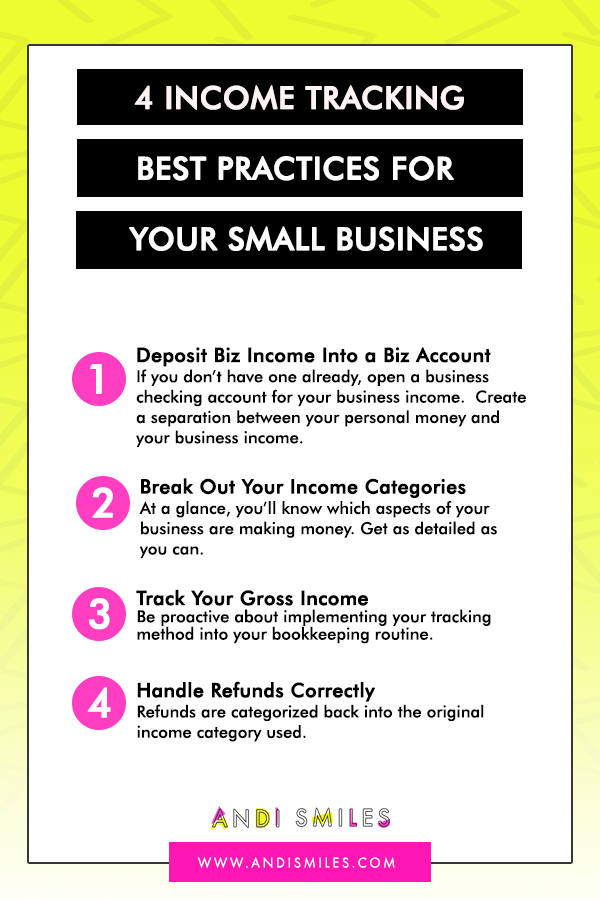 Do you know how to track your small business income? Bookkeeping is one of the most intimidating part of small business finances, but fear not! Keeping track of your self-employed income isn't as hard as it sounds. Click through to learn the most common tracking mistakes small business owners make and the best practices for tracking your income. #smallbusiness #bookkeepingtips