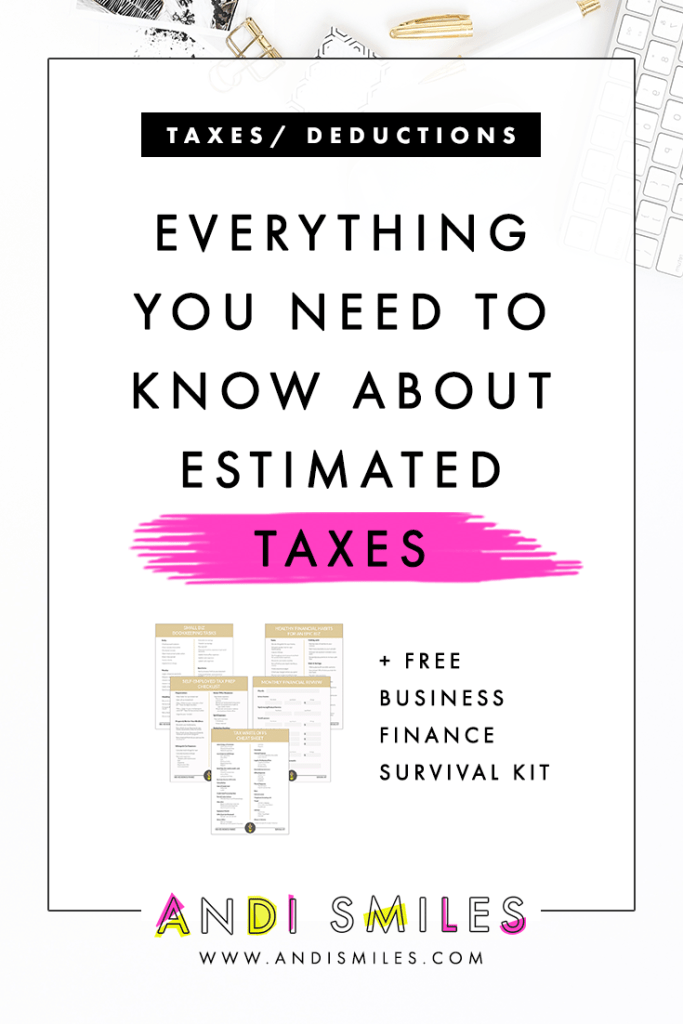 """Are you making your estimated tax payments for your small business? Or are thinking, """"WTH is she talking about?"""" If it's the later then get excited because you're about to have your quarterly taxes explained! I'm breaking down what are estimated taxes, paying your estimated taxes, and how to make sure you have enough money to cover your payments. Click through to learn about all things estimated taxes and get a free estimated tax tracker. #smallbusiness #taxtips"""