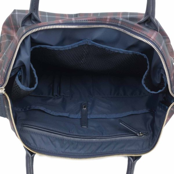 WANT Les Essentiels OHare Shopper Tote - Navy Tartan Nylon/Navy