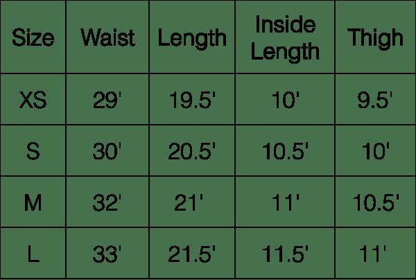 Short Size Chart
