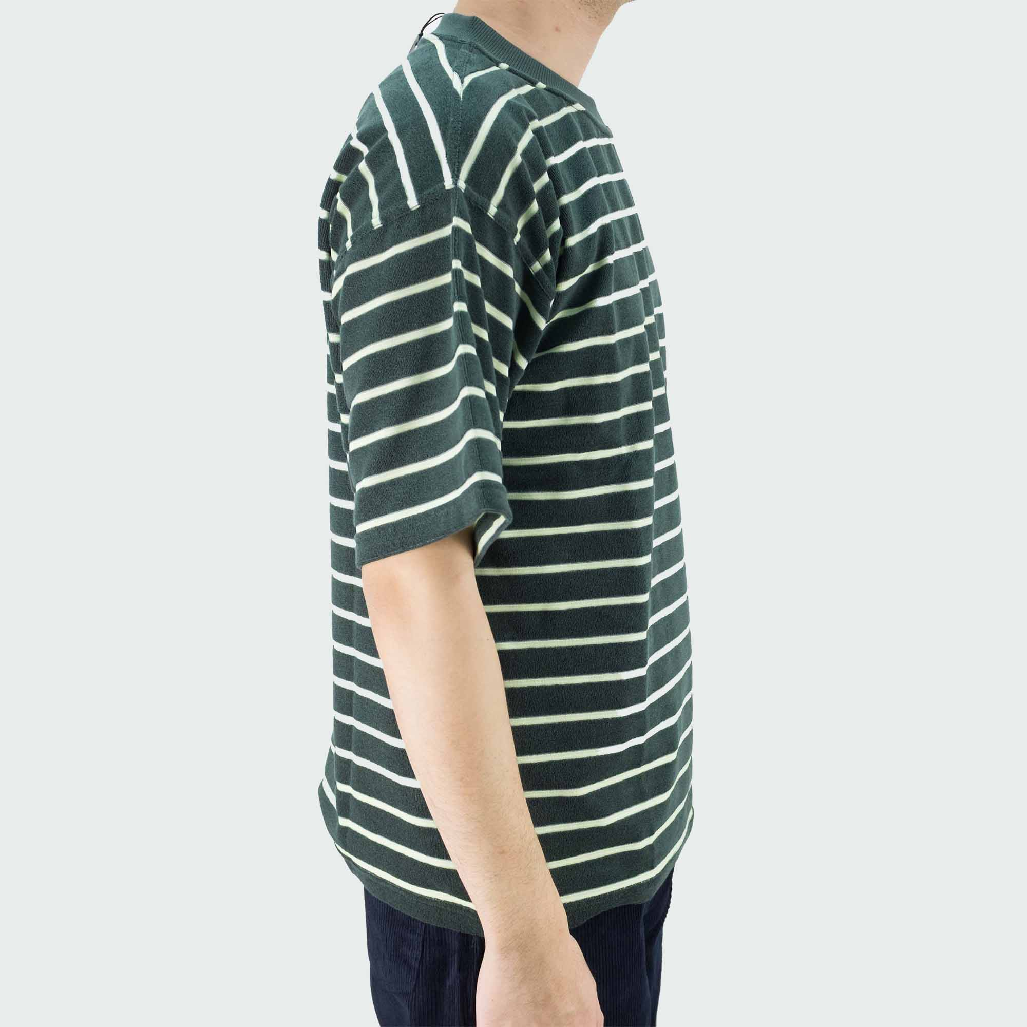 Polar Skate Co. Striped Terry Surf T Shirt - Green
