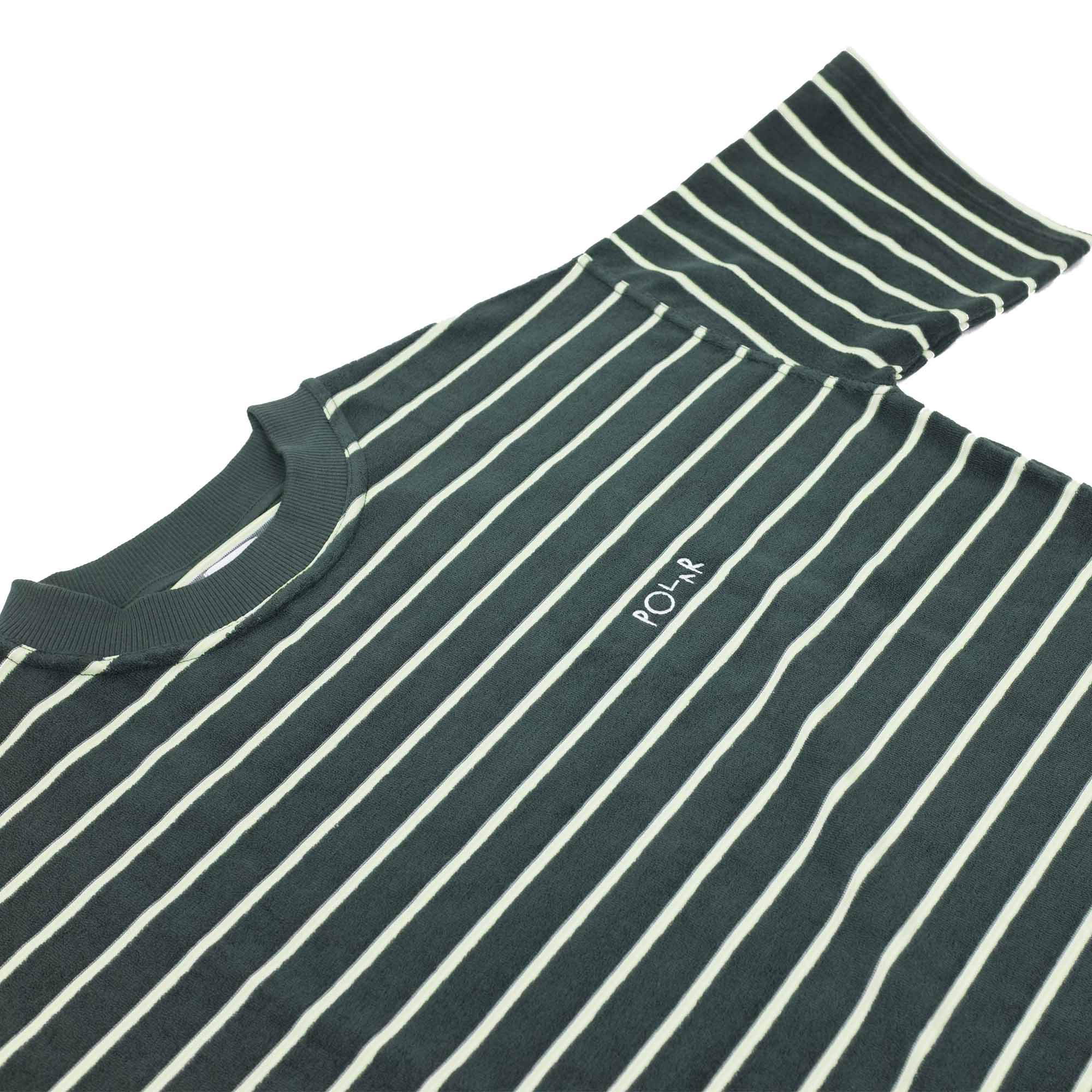Polar Skate Co. Striped Terry Surf T Shirt - Green
