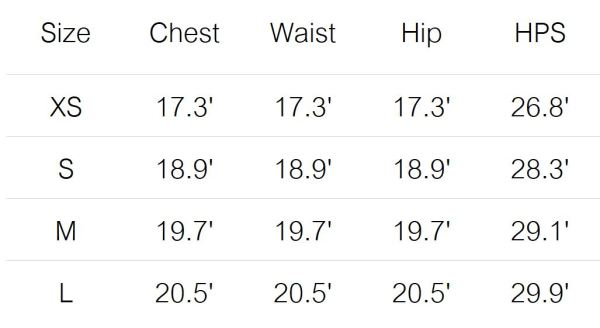 foret tee size guide