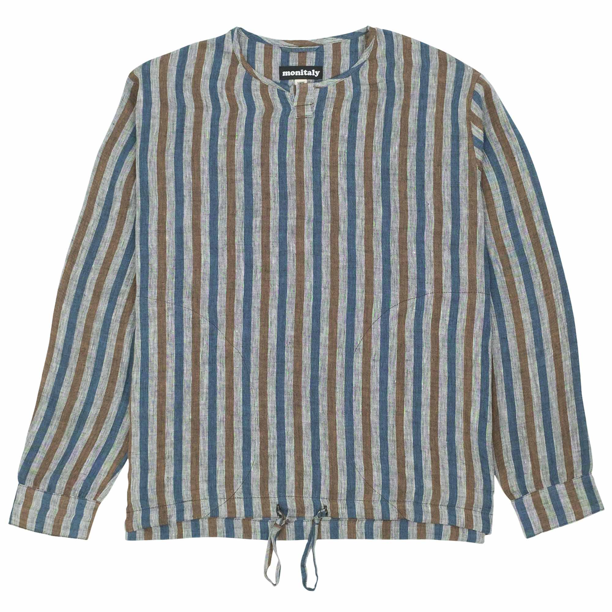 Crew Henley Pullover Linen Stripe 1