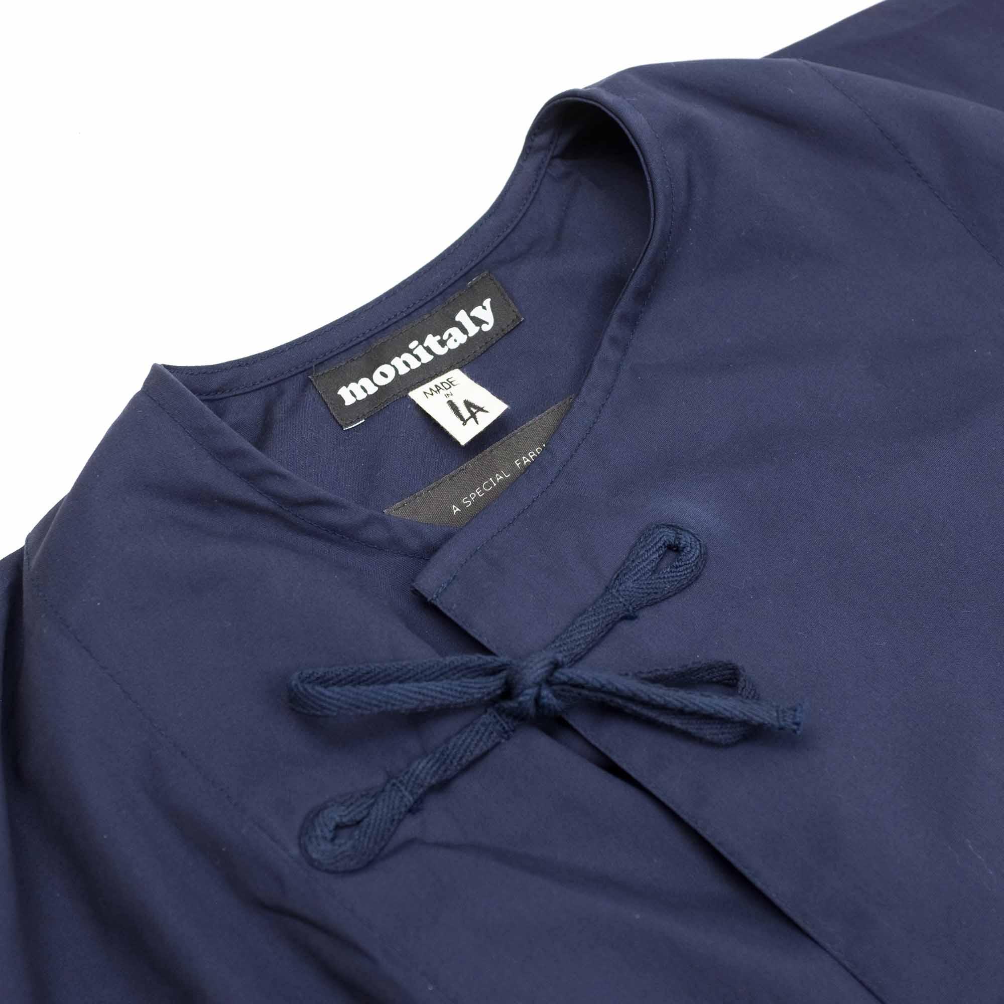 Monitaly Cropped Field Shell Jacket - Vancloth Oxford Navy