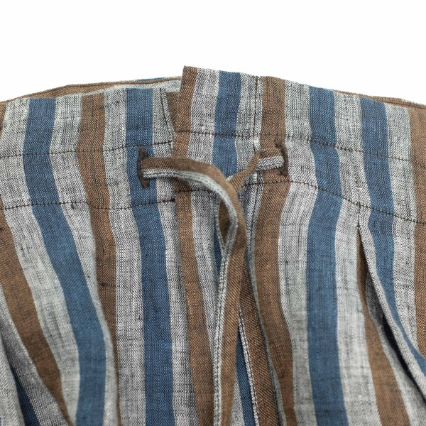 Monitaly Drop Crotch Pants - Lt Linen Stripe