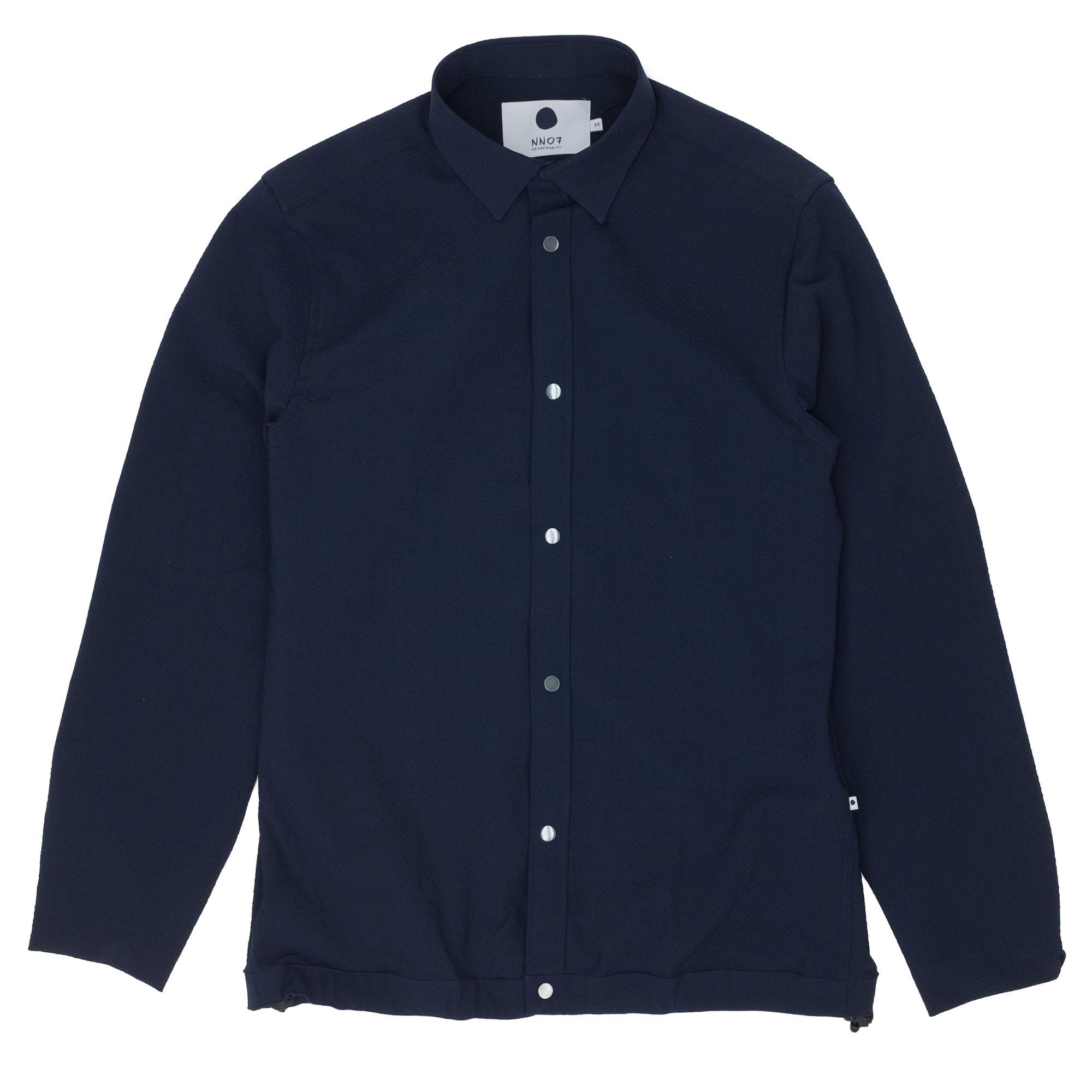 NN07 Giuseppe 1352 Seersucker Overshirt - Navy Blue
