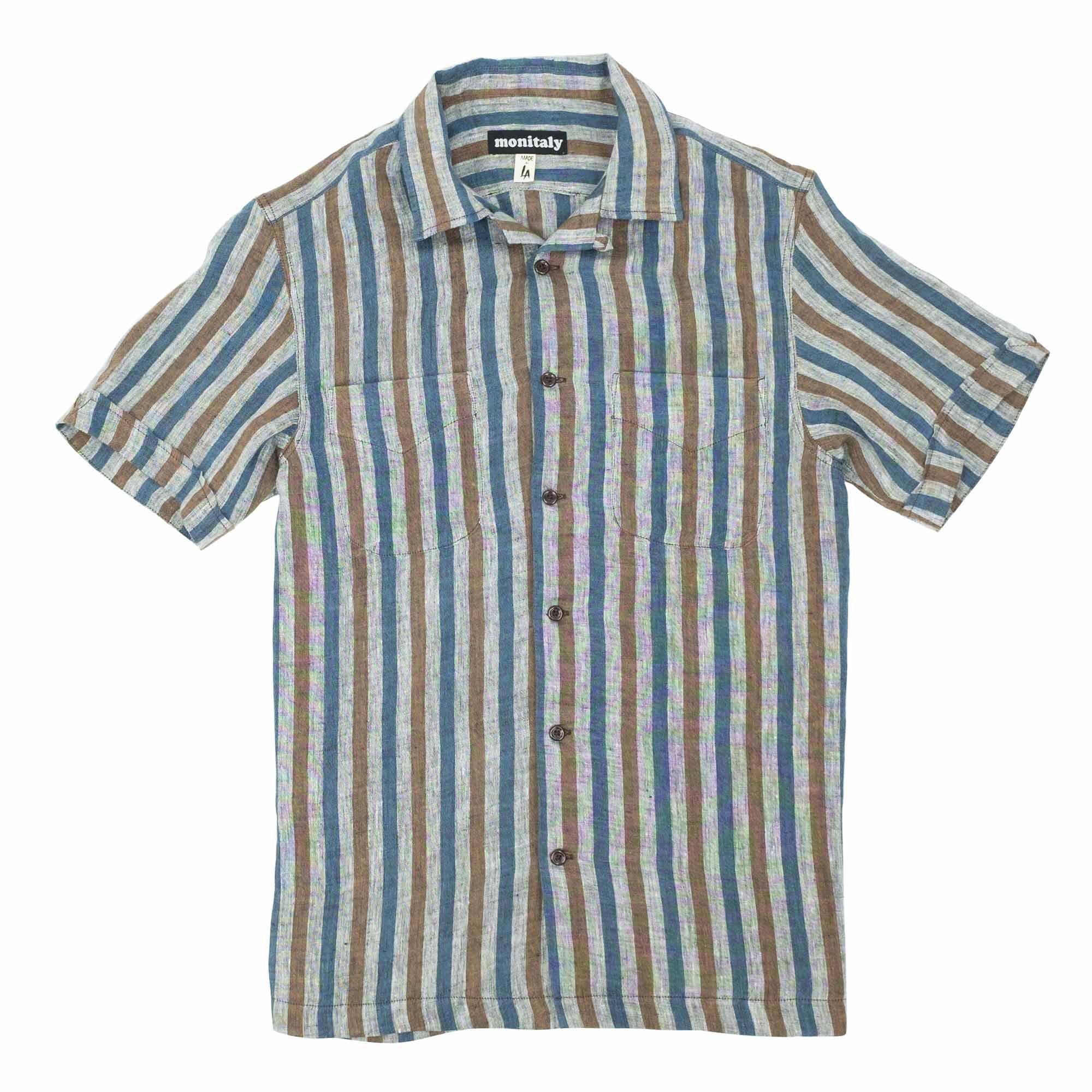 Monitaly Vacation Shirt - Lt Linen Stripe