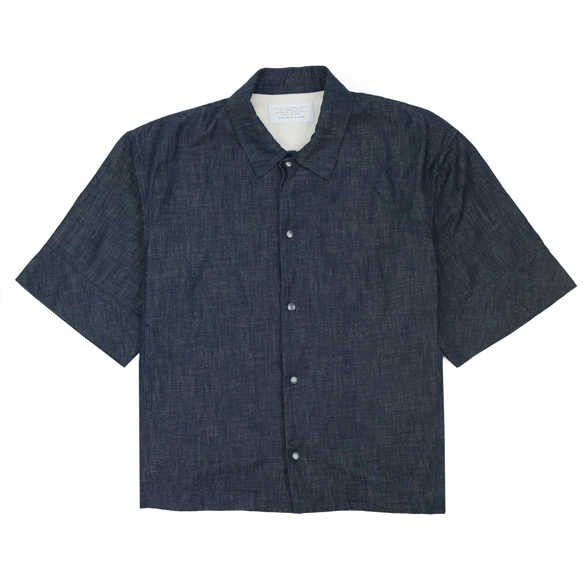 Kuro Denim Short Sleeve Coach Jacket - Indigo