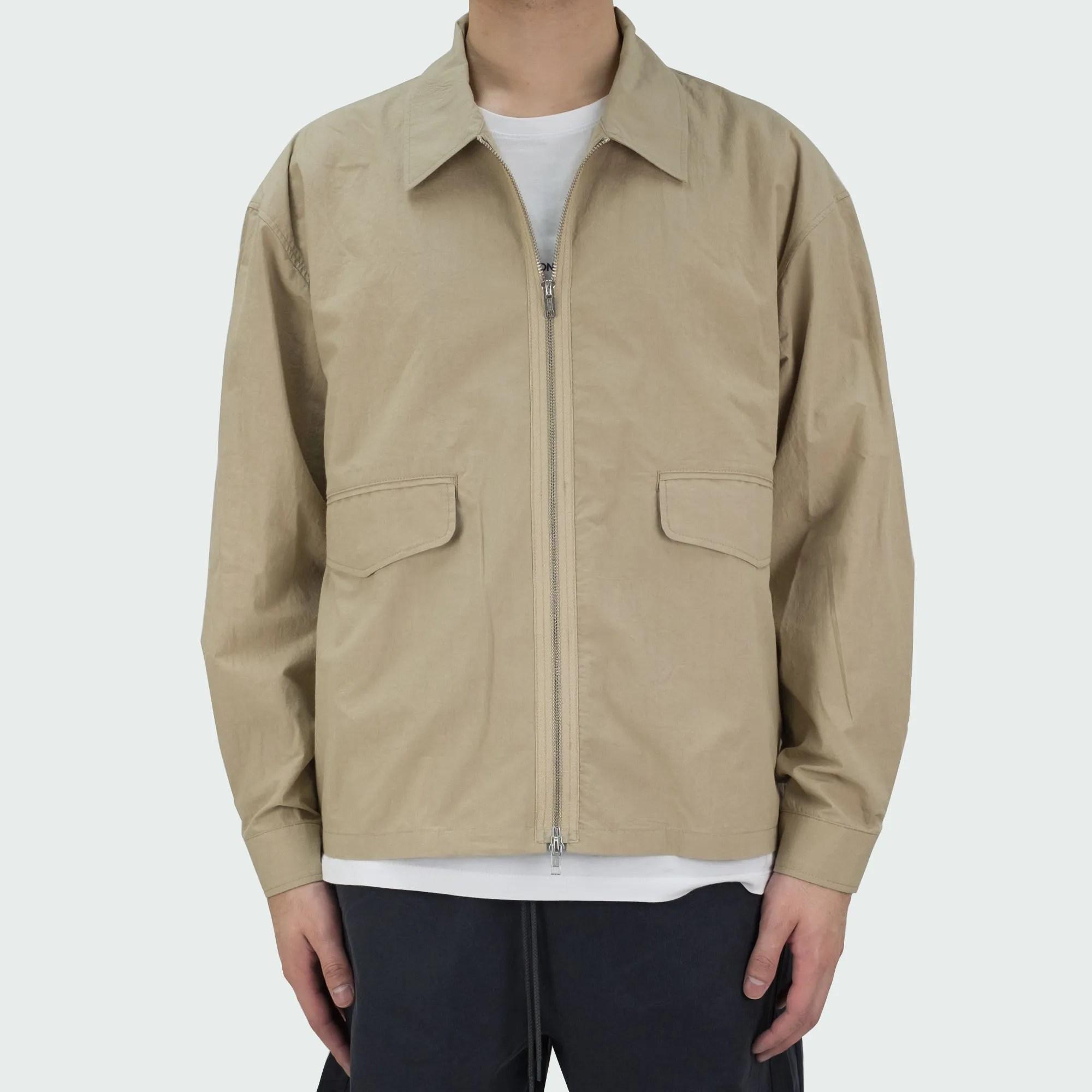 Zip Up Shirt Jacket Beige 2