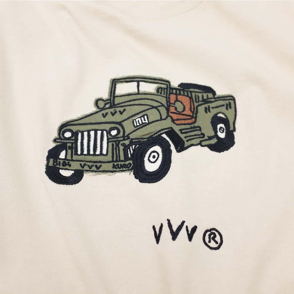 Kuro Dyed Wash Tee (Playful Jeep) - Beige