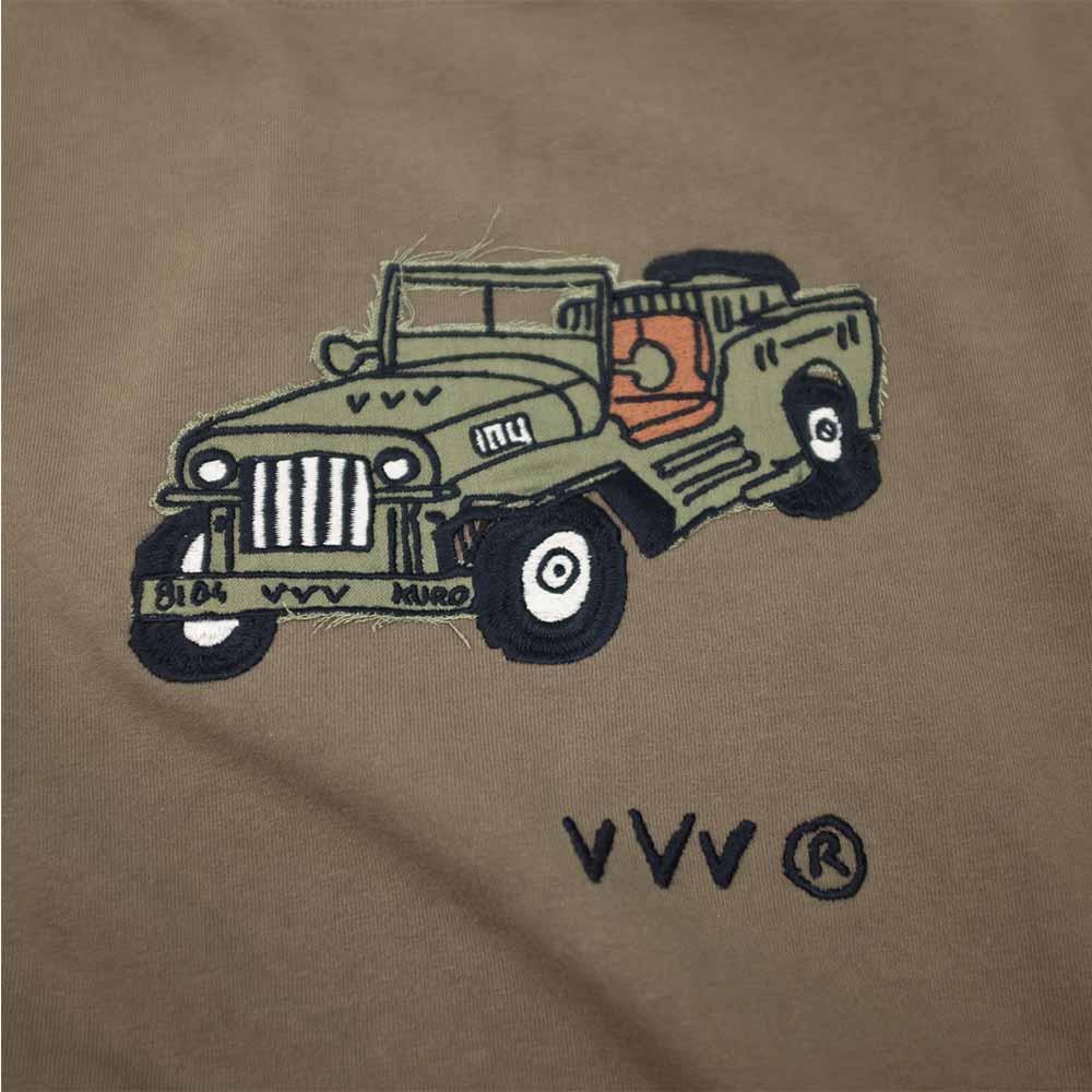 Kuro Dyed Wash Tee (Playful Jeep) - Khaki