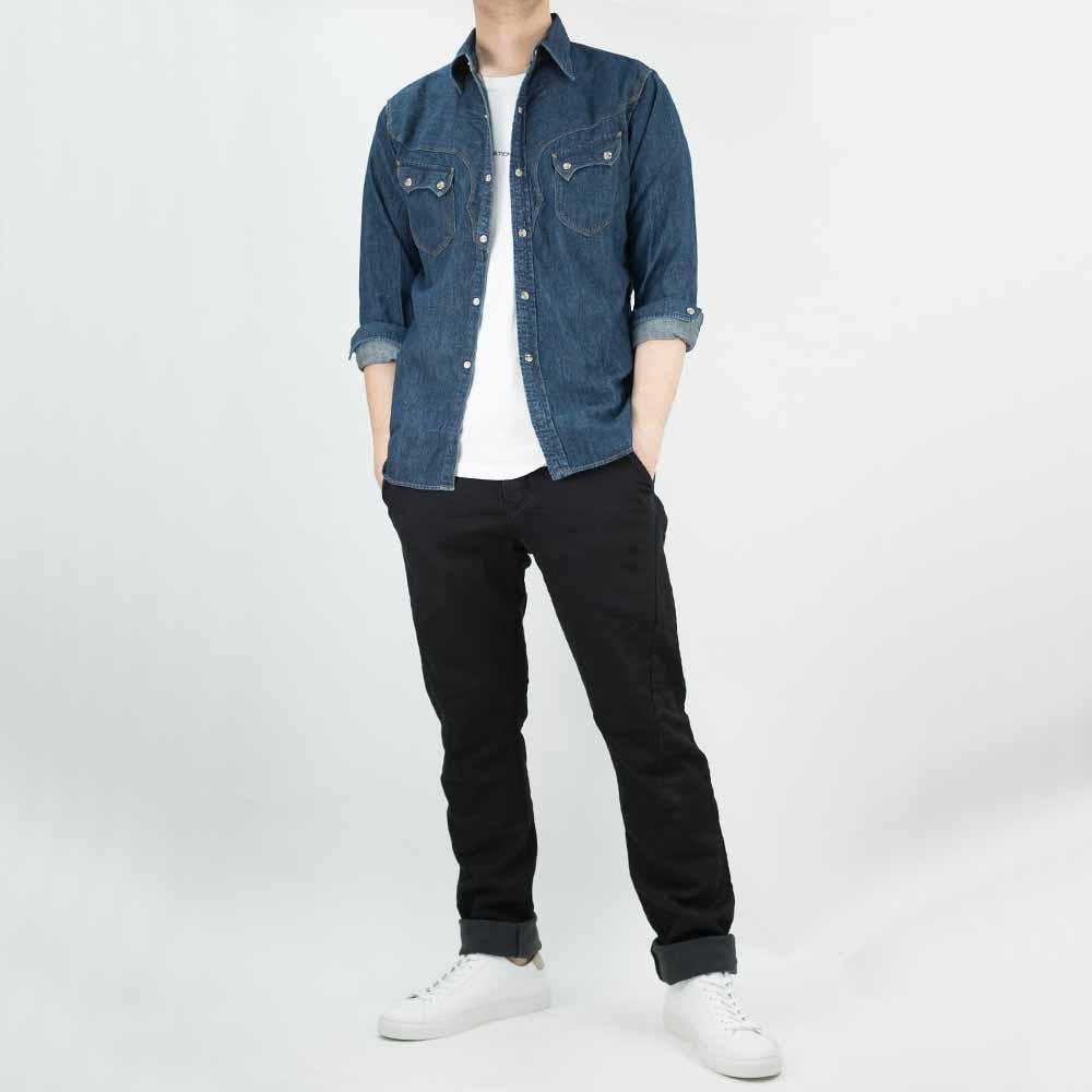 Stevenson Overall Co. Cody Shirt - Faded Indigo 9