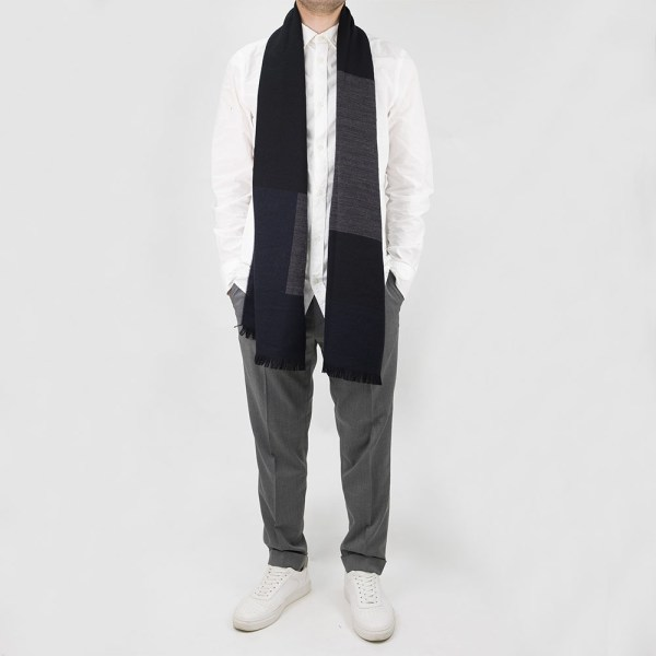 Filippa K Jacquard Wool Scarf - Mix blue