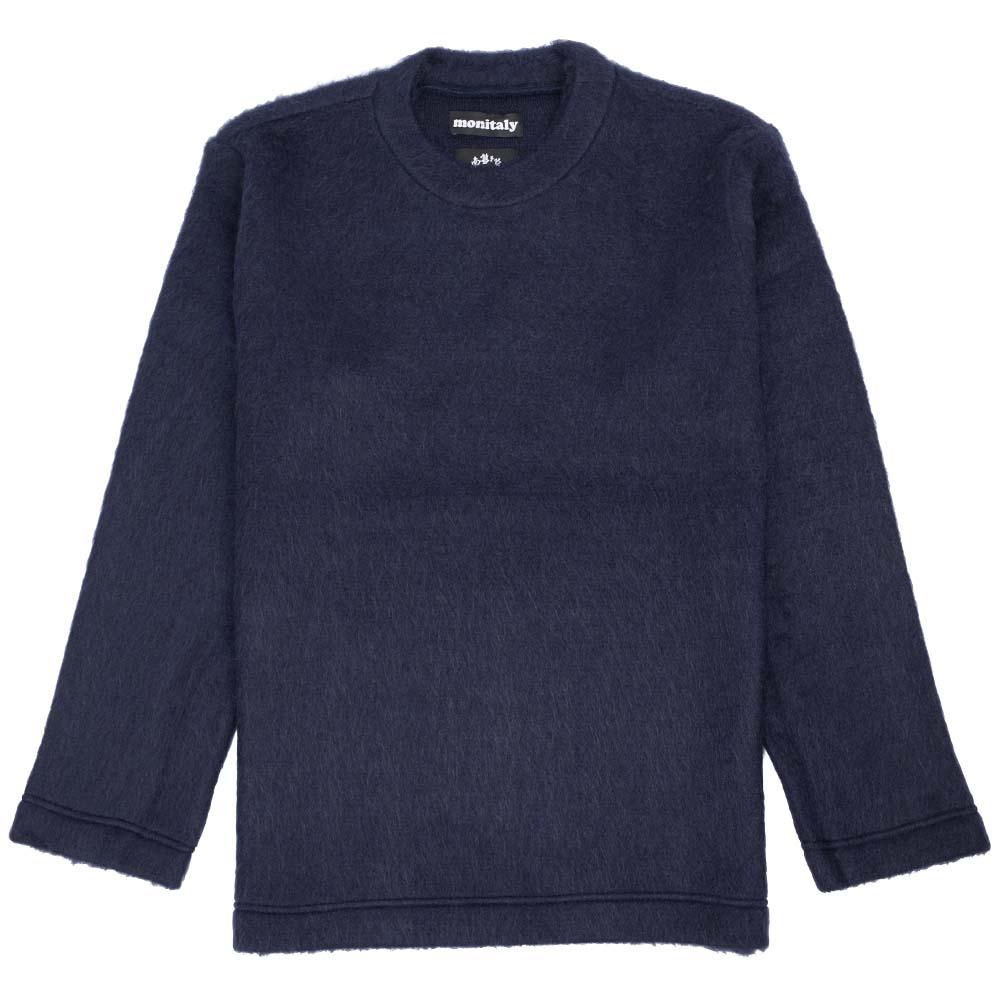 Monitaly Shaggy Crewneck Pullover - Solid Navy