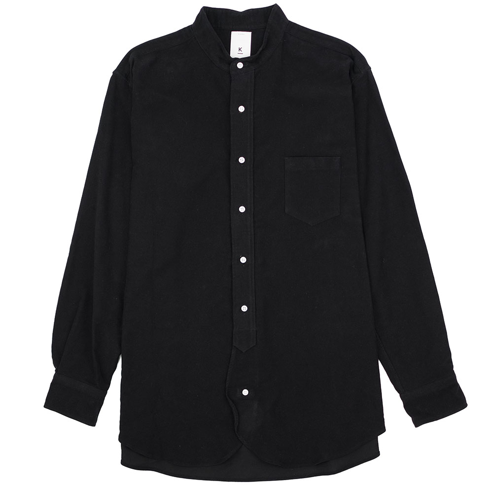 Kuro Band Collar Big Shirt - Black