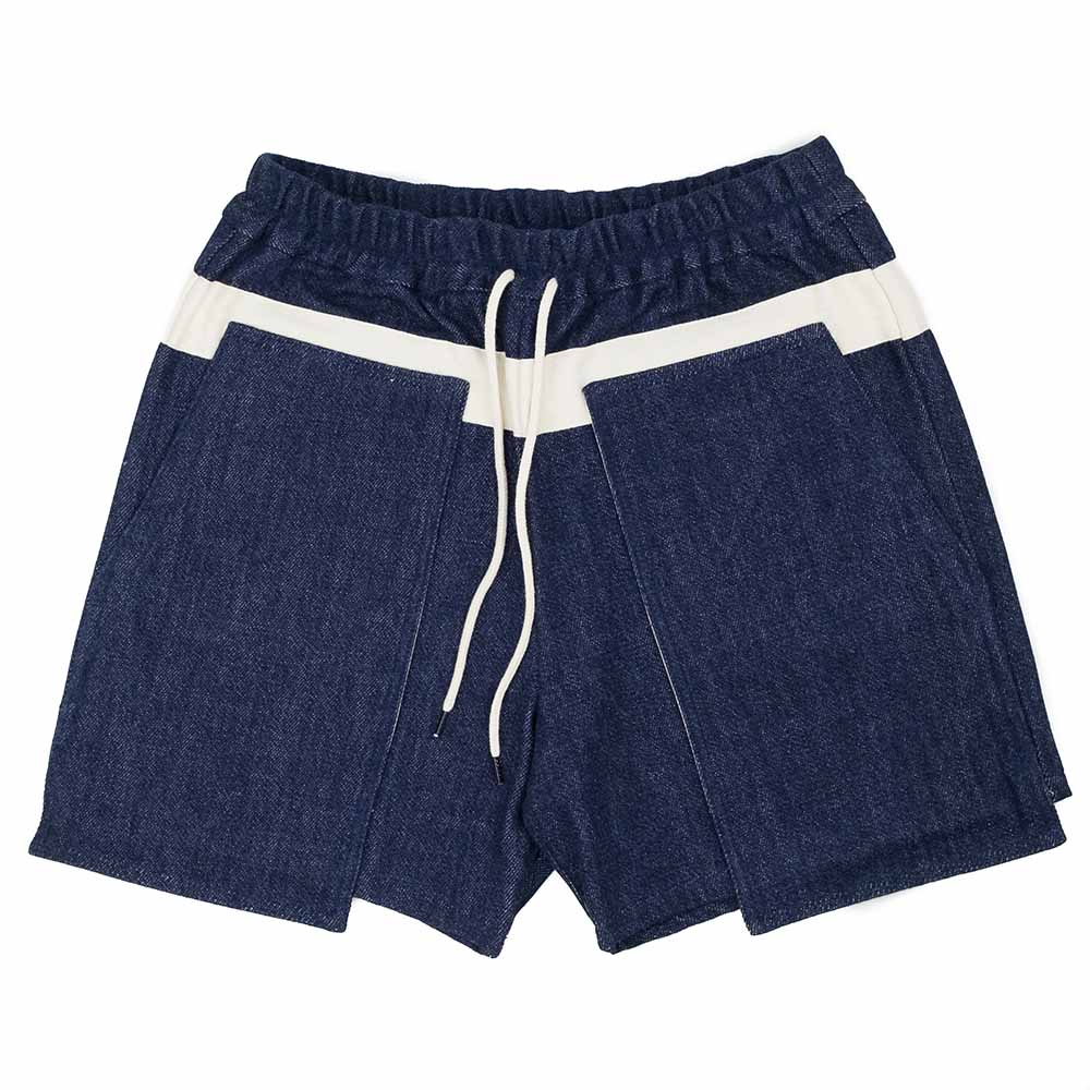 Kuro Loose Denim Baker Shorts - Indigo