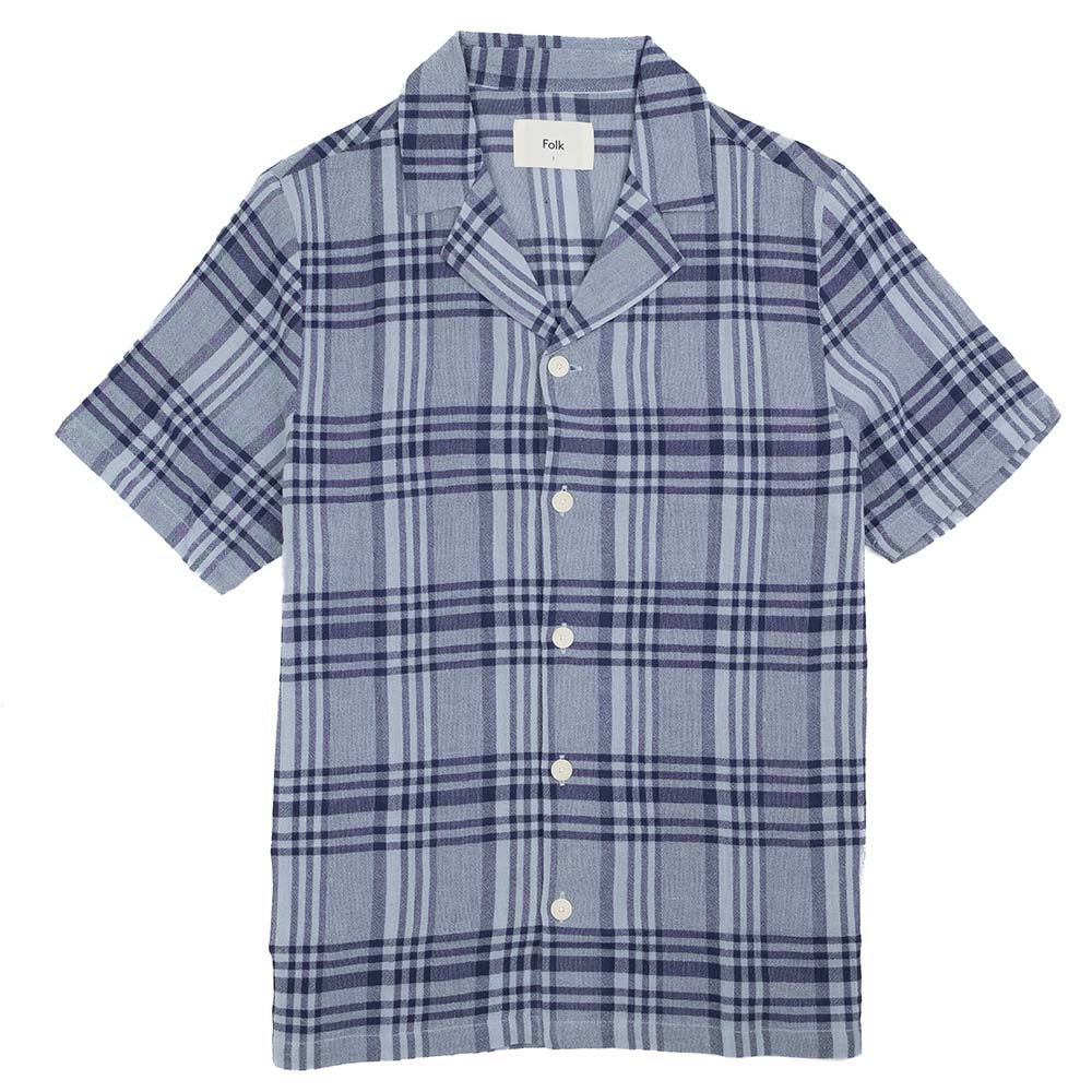Folk SS Soft Collar Shirt - Mist Overdyed Crepe Check