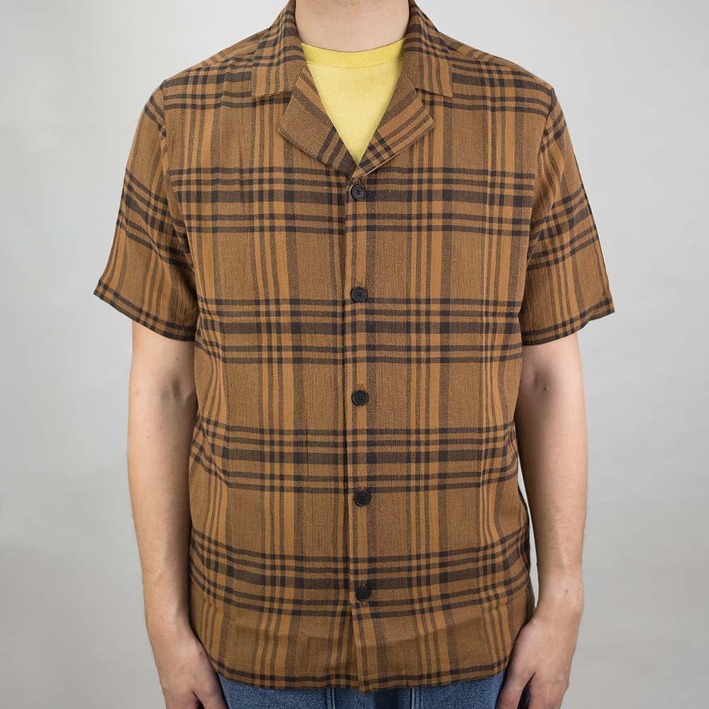 Folk SS Soft Collar Shirt - Teak Overdyed Crepe Check