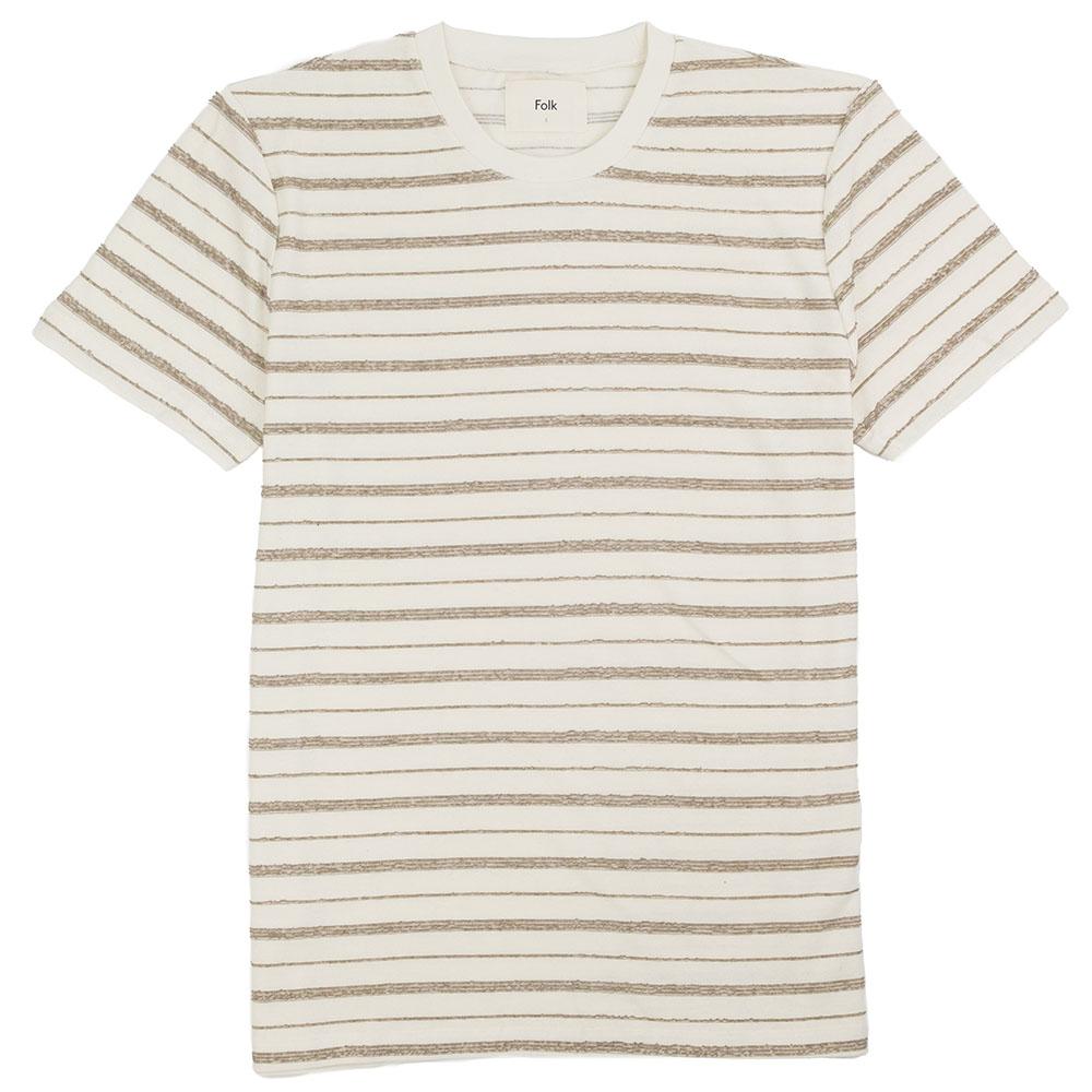 Folk SS Textured Stripe Tee - Ecru Fog