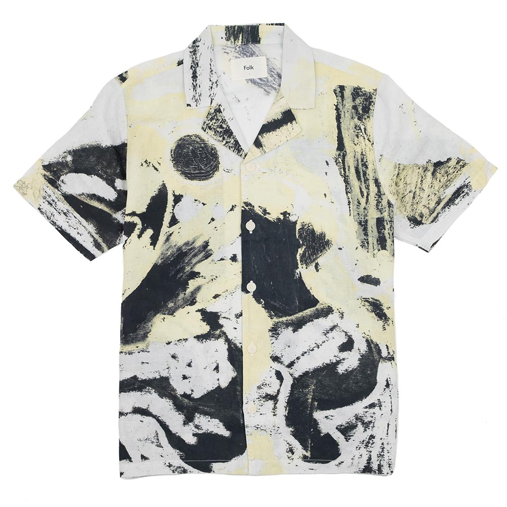 Folk x Alfie Kungu SS Soft Collar Shirt - Light Gold Flare Print
