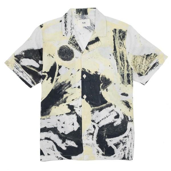 Folk x Alfie Kungu SS Soft Collar Shirt - Light Gold Flare Print