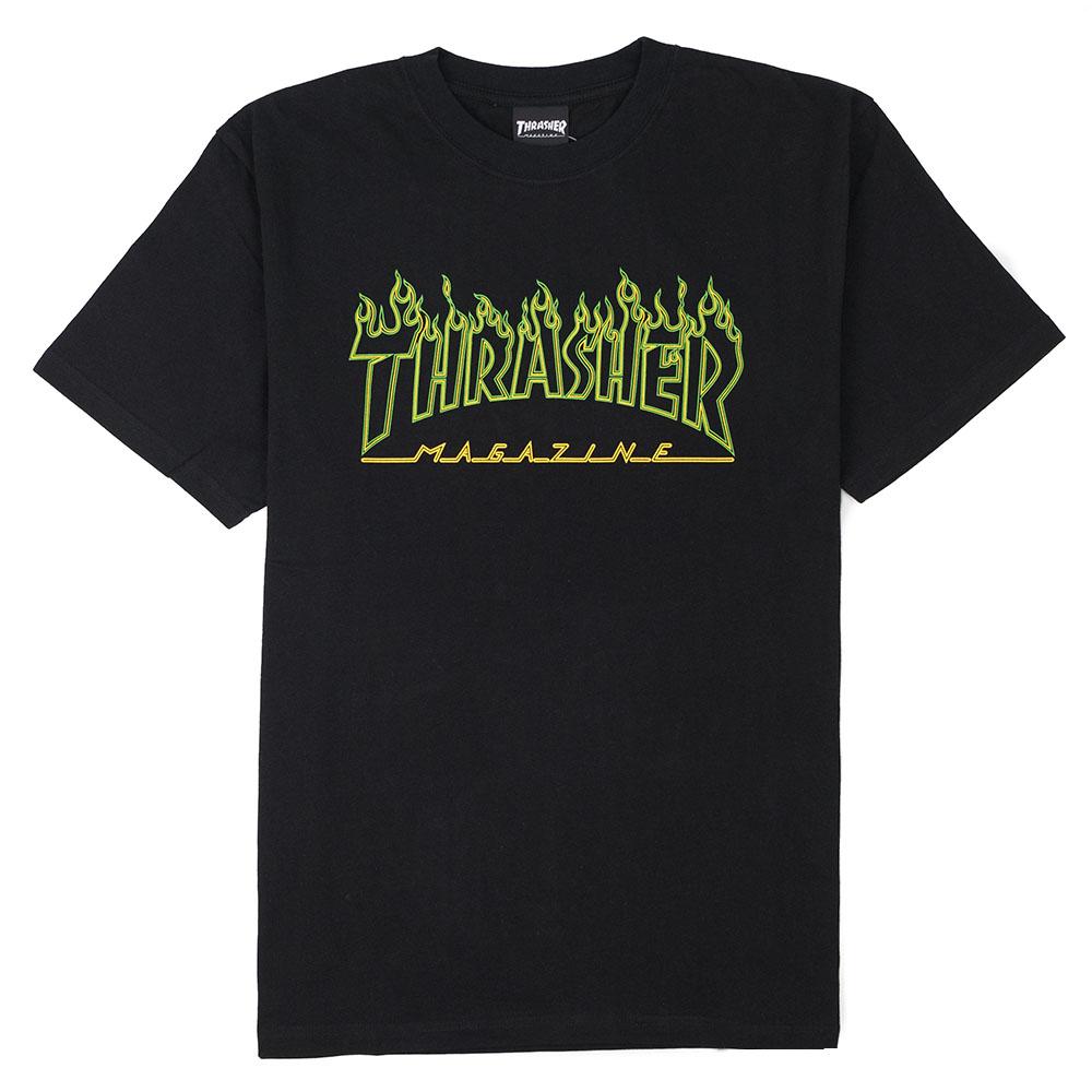Thrasher (Japan) Green Outline Flame S/S T-Shirt - Black