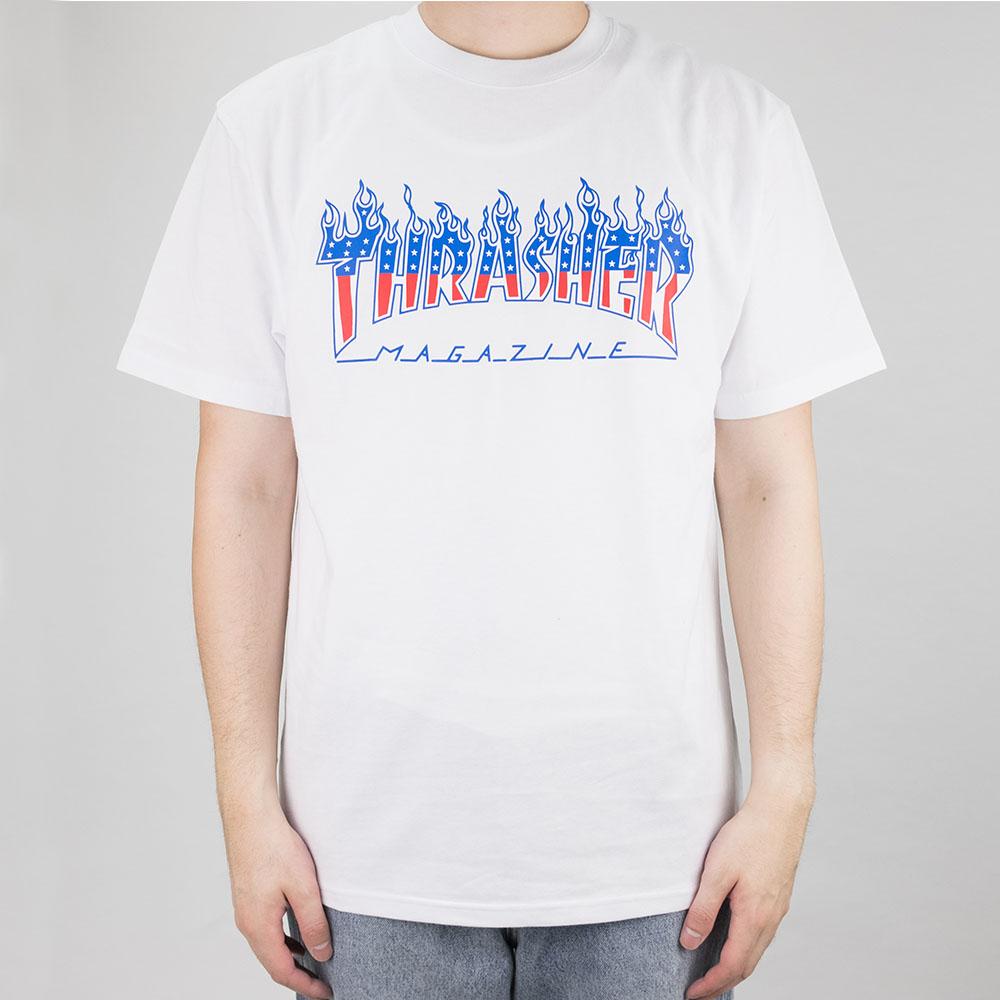 Thrasher (Japan) Flame Patriot S-S T-Shirt - White 2