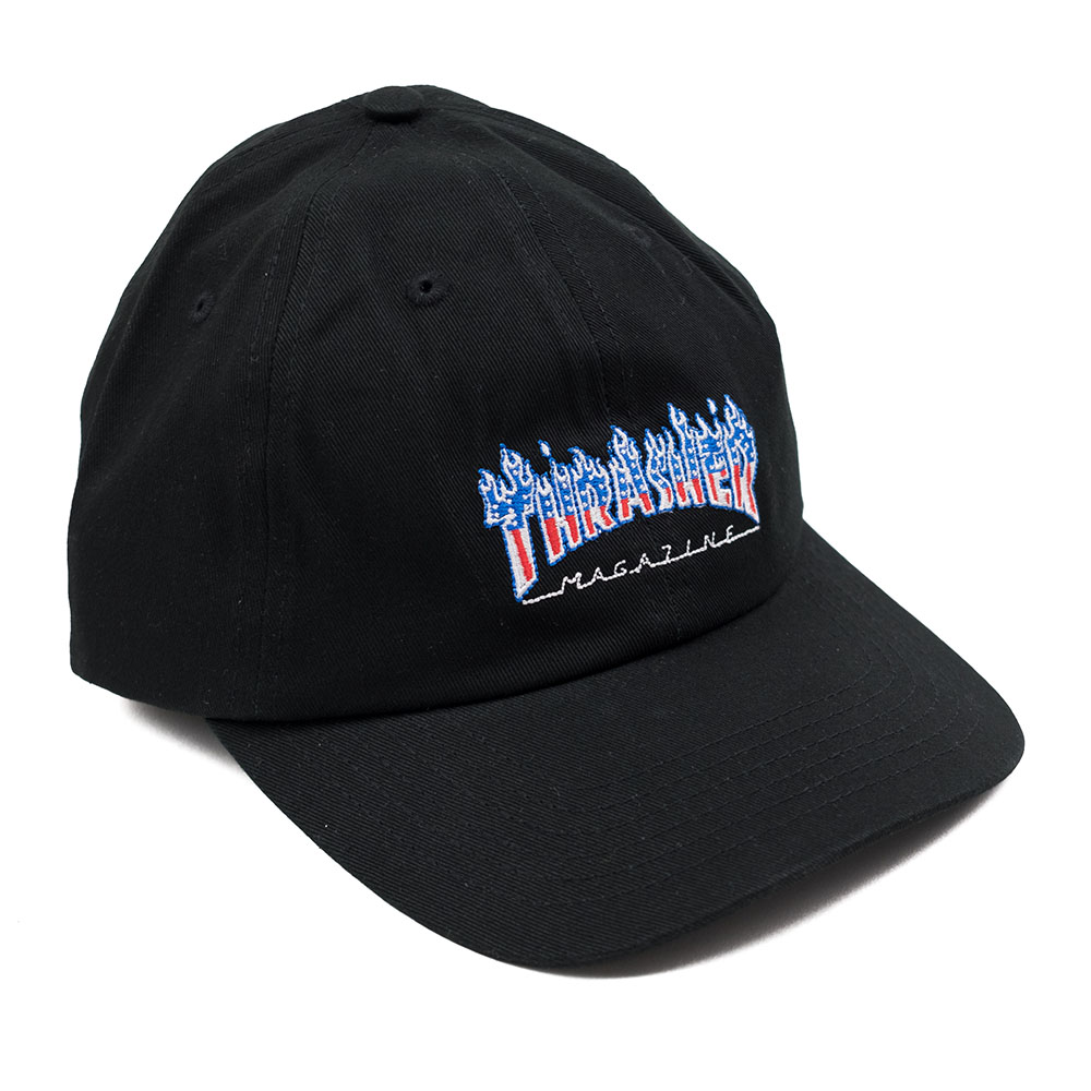 Thrasher (Japan) Flame Patriot Strapback Dad Cap - Black 1