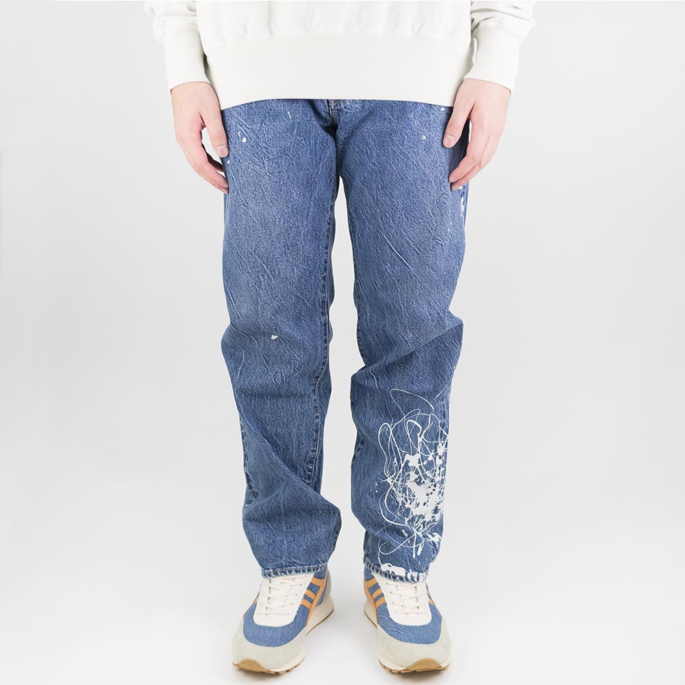 Kuro Futura Paint Denim Pants - Indigo