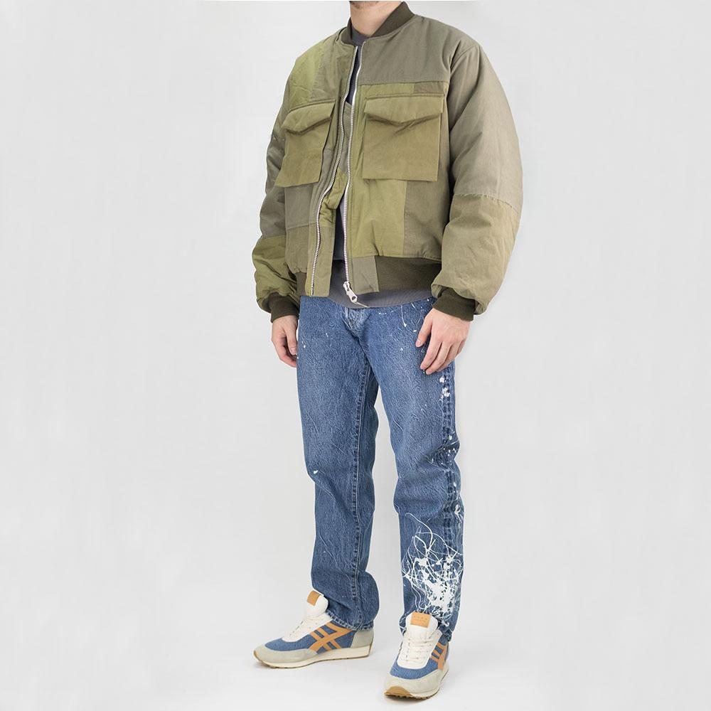 Kuro Military Patchwork Bomber Jacket - Khaki