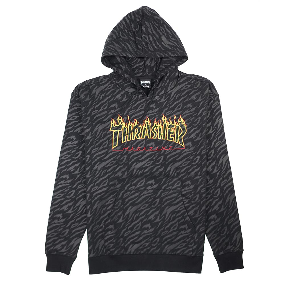 Thrasher (Japan) Tiger Flame Hooded Sweatshirt - Black