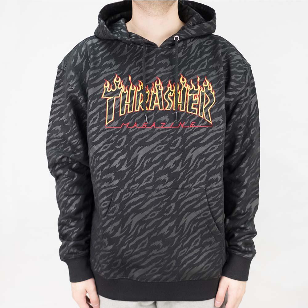 Thrasher (Japan) Tiger Flame Hooded Sweatshirt - Black